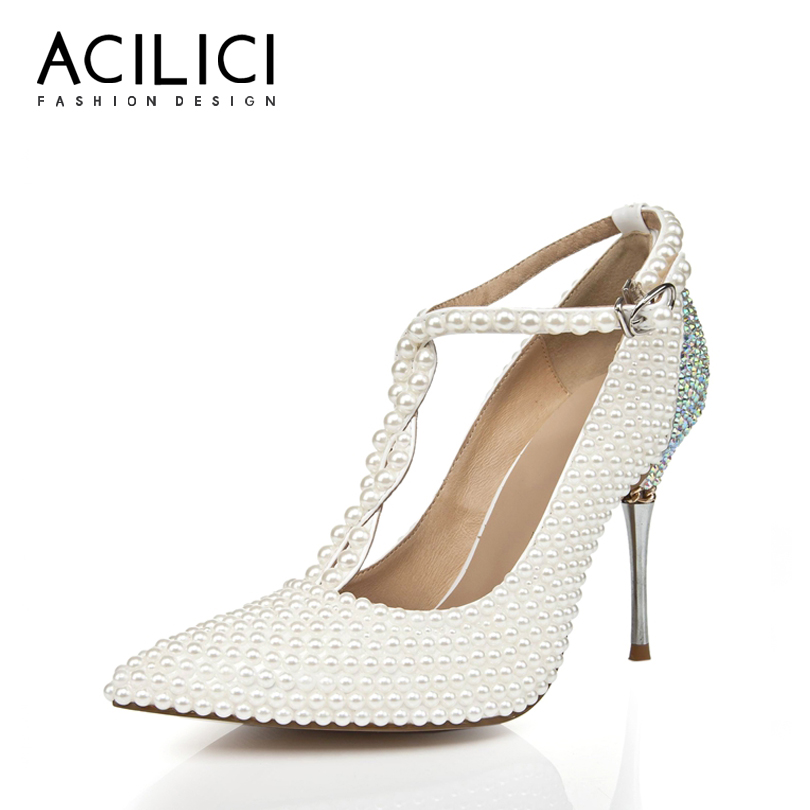 Brilho Sapatos de Casamento Dedo Apontado Elegante Salto Fino Fivela Cinta T Mulher De Salto Alto