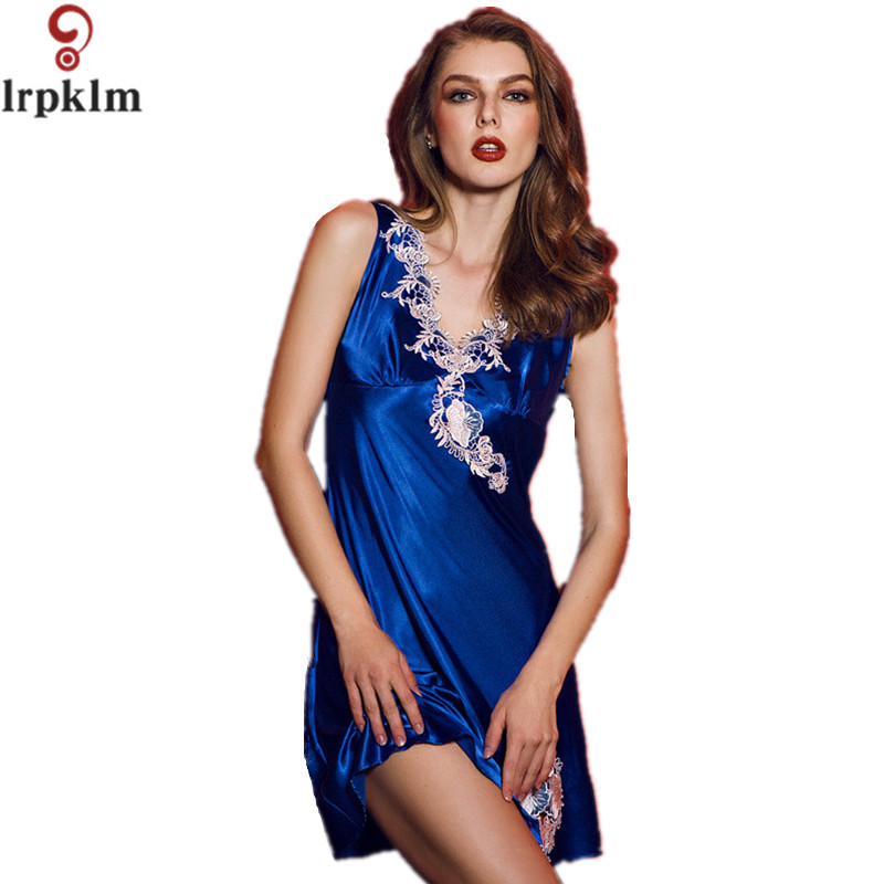 Hot Women Faux Silk Nightgown Nightdress Sexy Nighty Dress Sleeveless Sleepdress Sleepwear Nightwear for Summer Home Wear SY291