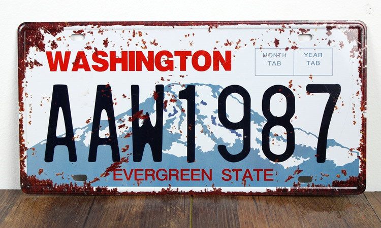 SP-CP-0161 Car License Plates number About WASHINGTON AAW1987  Retro Vintage Metal tin signs Wall art craft painting 15x30cm