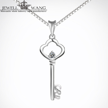 JEWELLWANG Mossianite Pendants for Women 0.05CT Moissanites with Silver925 Necklace Classic Romantic Pendant Engagement for Girl
