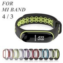 Sport Mi Band 4 3 pasek silikonowa opaska na nadgarstek dla Xiaomi mi band 3 bransoletka sportowa dla Mi band 4 3 band4 inteligentny zegarek bransoletka