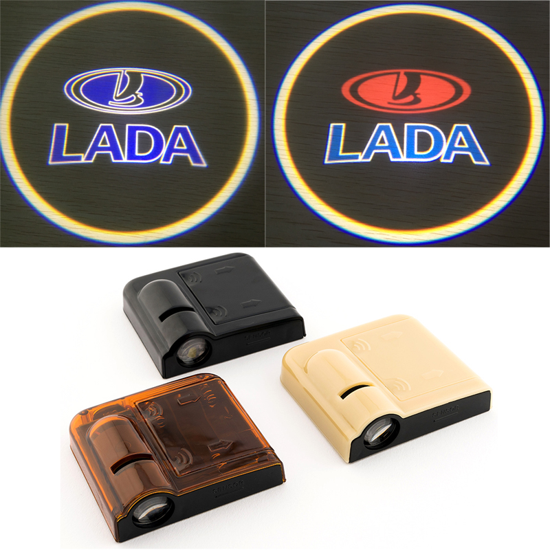 2pcs for Lada Car Door Welcome Logo Light Projector For Lada 2112 <font><b>2113</b></font> 2114 Samzra Patriot Priora Kalina Largus Niva 4X4 Vesta image