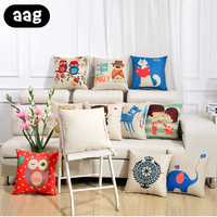 AAG Pastoral Style Classic Throw Massager Decorative Pillow Fiber Flax Emoji Pillow Office Cushion Waist Bed Throw Pillow