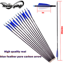 6/12/24PCS Pure Carbon Arrow Length 30 Inch Spine 300 Blue Turkish Feather for Recurve bow/Compound bow Hunting Archery
