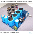 PCBA Tube Headphone Amplifier Kits HIFI WCF Solution with 6N11 6N6 32~1200 Ohms Stereo Audio DIY