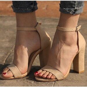 Image 5 - STAN SHARK Summer Women Flock Square Heel Sandals High Heels Buckle Strap Female Woman Dress Sandal Shoes For Girls Plus Size