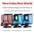 Transparent Blue Go Pro Waterproof Housing Case Standard Underwater Protective Case for GoPro Hero 4 3+ 3 Camera