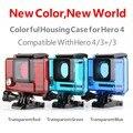 Transparente Azul Go Pro Caja Estanca de Protección Estándar de Cubierta Impermeable para GoPro Héroe 4 3 3 Cámara