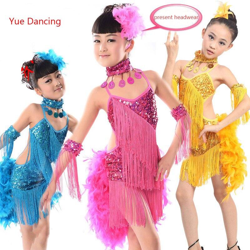 2-15Y Children Sequins Latin Dance Dress For Girls Samba Costume Feather Tassel Fringe Tango Clothes Latina Kids Fancy Dancewear