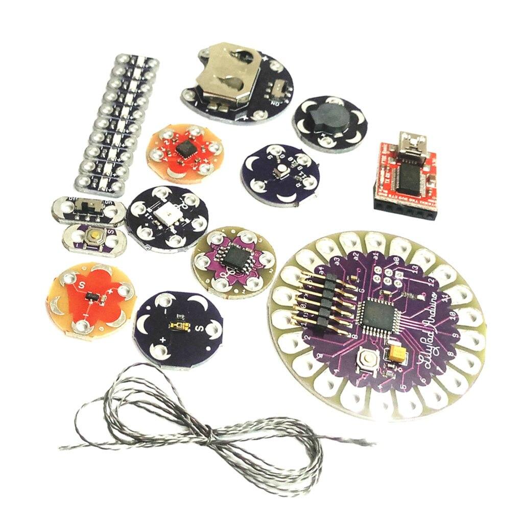 Kit Lilypad Arduino, Kit électronique Sewable (ATmega328P, led, capteur de température, FT232RL, Buzzer, interrupteur)