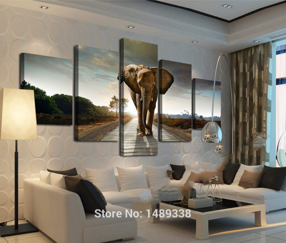 5 Panel Elephant Painting Wall Art Picture Home Decoration Living Room Print Modern Canvas Prints Framed 463 In Calligraphy From