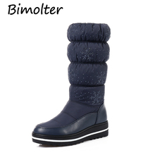 Bimolter Plus size 35-44 Women Winter Boots Warm Cotton Down Shoes Waterproof Snow Fur Platform Mid Calf boots SB014