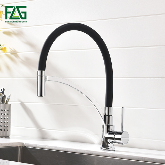 Flg Pull Out Kitchen Faucet Black Chrome Finish Dual Sprayer Nozzle