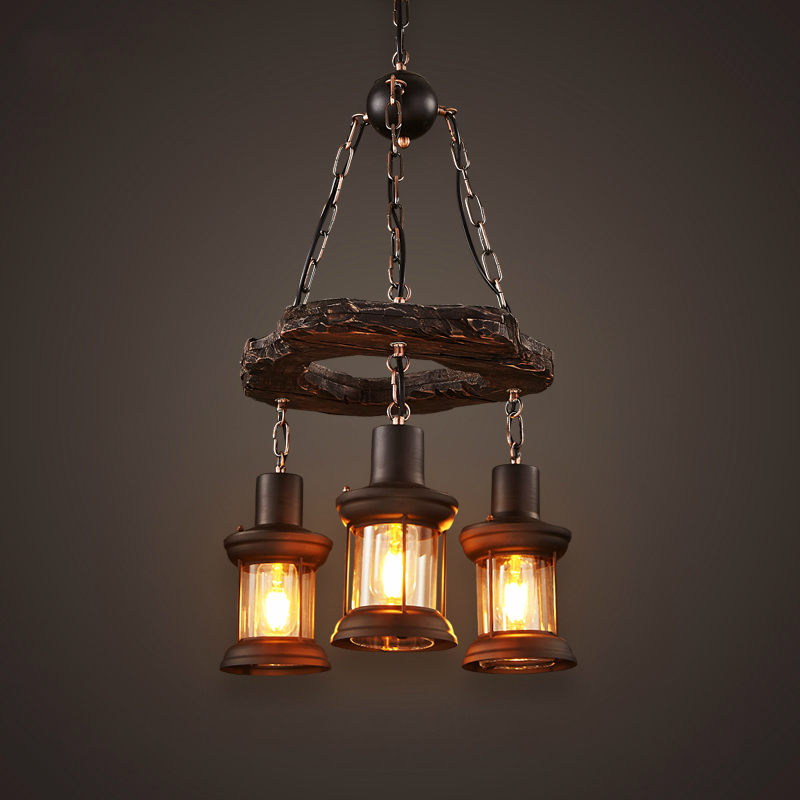 Retro Industrial Pendant Lamp 3 Head Circular Old Boat Wood American Country Nostalgia Light For Bar Cafe Store Free Shipping american country to do the old wrought iron loft retro bar stool wood sub circular bar chairs chair cafe bar