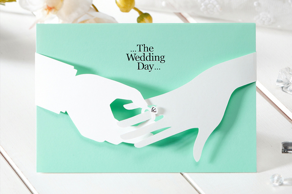 20Pcs Design tiffany Green Printable Laser Cut Wedding Invitations