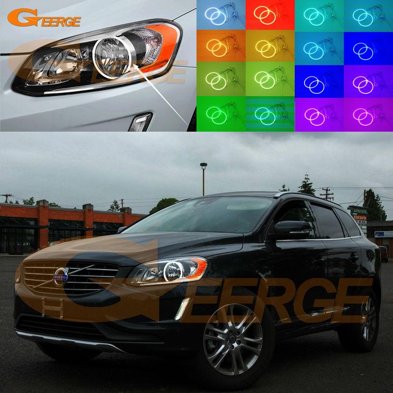 Для Volvo ХС60 2014 2015 2016 Галогенные фары отлично Ангел глаз Мульти-Цвет Ультра яркий RGB из светодиодов Ангел глаза комплект