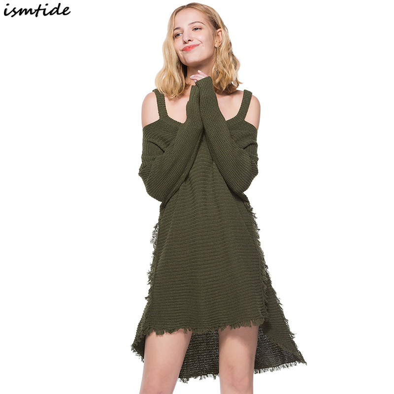 Tassel Long Sleeve Sweater Dress Army Green V Neck A Line Dress Hollow Out Off Shoulder Knitted Sexy Spring Dresses Women army green v neck half sleeve dress