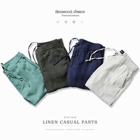 SIMWOOD 2017 Spring Summer New Harem Pants Men 100 Pure Linen Ankle Length Casual Thin Drawstring