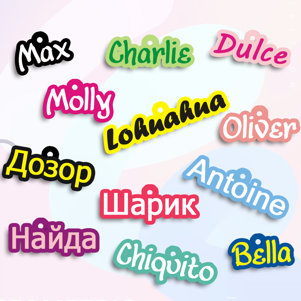 Personalized Dog Tag Handmade Acrylic Pet ID Tag For Dogs Puppies Colorful Name Tags For Cats Kitten Pendent Collar Accessories