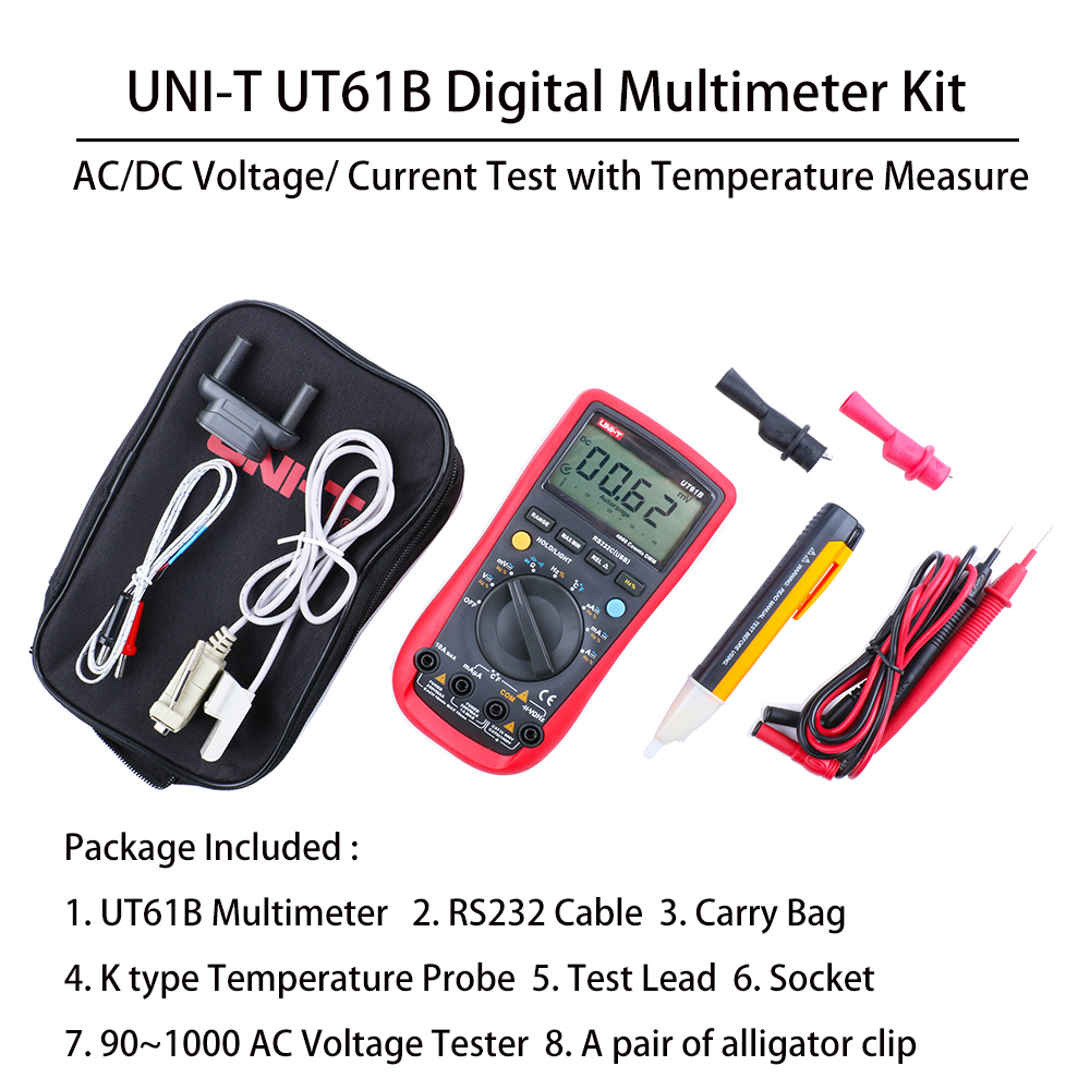UNI T UT61B Full Functions Digital Multimeter for AC DC Voltage Current Test with 90 1000V