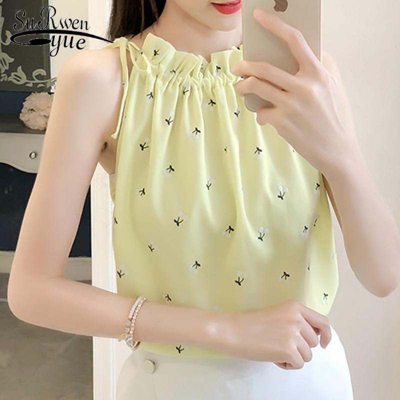 2018 fashion print chiffon women blouse shirt sexy sleeveless summer women tops slim plus size womens clothing blusas 0017 30