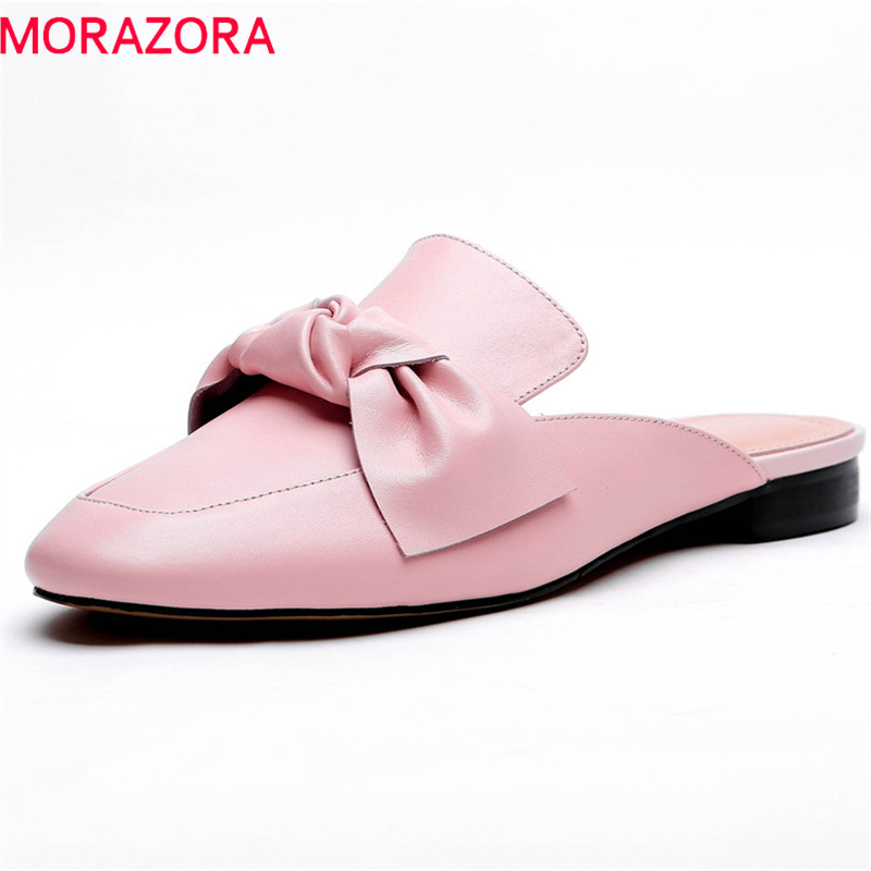 MORAZORA 2018 new arrive women slippers genuine leather summer shoes sweet bowknot fashion shoes square heel casual mules shoes цена 2017