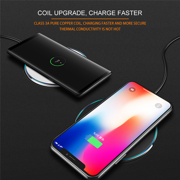LED Breathing Light 10W Wireless Charger , ROCK Qi Fast Wireless Charging Pad For iPhone X XS 8 Samsung Huawei P30 Xiaomi 1