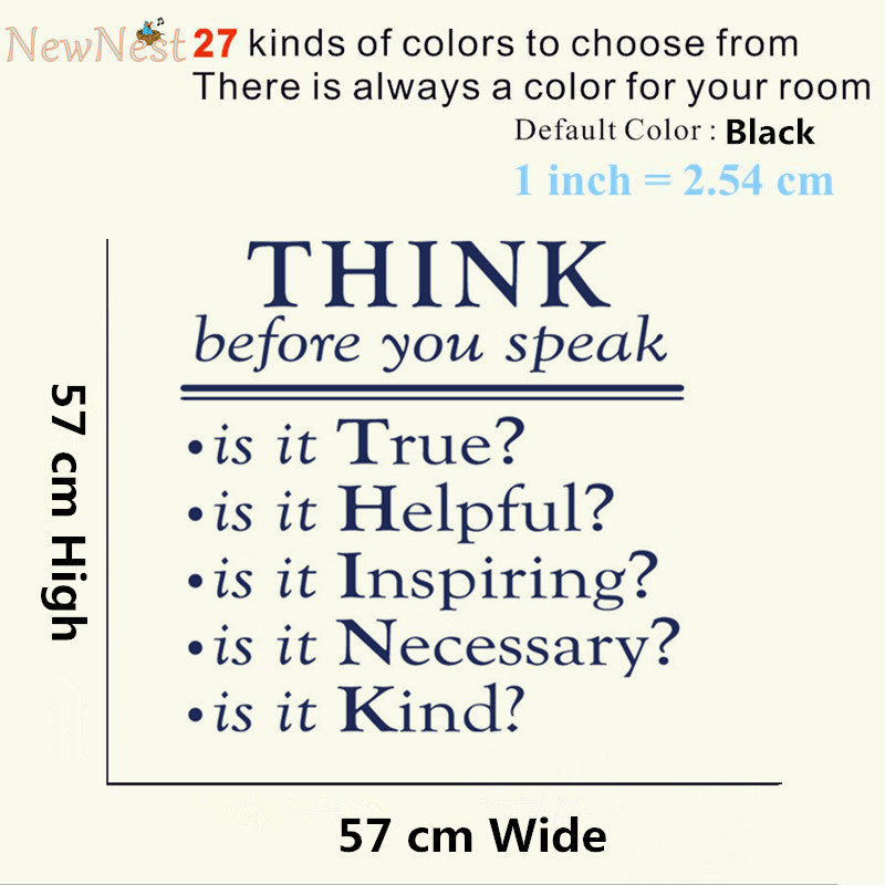 Think Before You Speak Vinyl Quotes Decals Classroom Decor