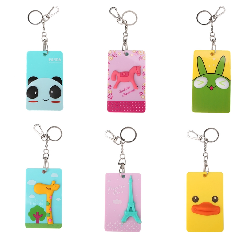 2018 Fashion Lovely 3D Cartoon Bus Card Cover ID Credit Card Holder Badge Case With Key Chain Men Women PVC+Metal Card Holder все цены