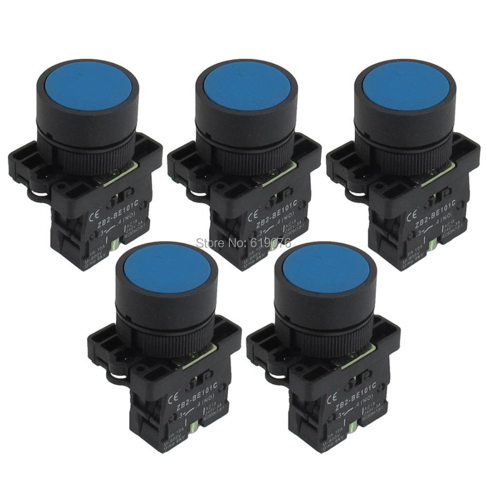22mm 1 NO N/O Blue Sign Momentary Push Button Switch 600V 10A