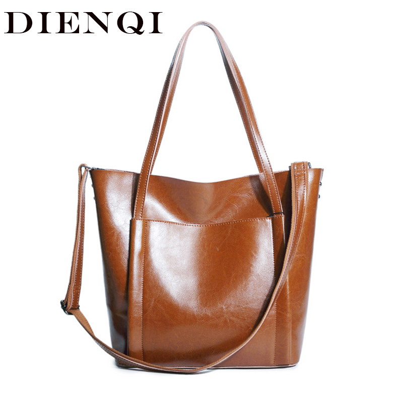 DIENQI Vintage Patent Leather Party Women Handbags New Arrivals Big Genuine Leather Female Shoulder Bags Ladies Retro Hand Bags