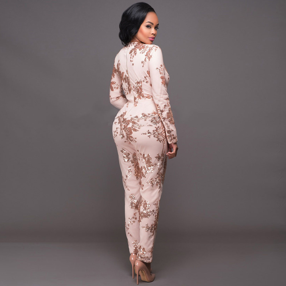 Wonder beauty V ncek lace covered sequined jumpsuit bodysuit playsuit catsuit Rompers lady casual work office beach wear