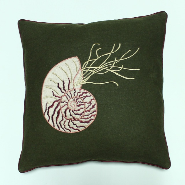 VEZO HOME Embroidered Sea Shell Linen Sofa Cushions Cover Home Decorative  Throw Pillows Cover Chair Seat Pictures