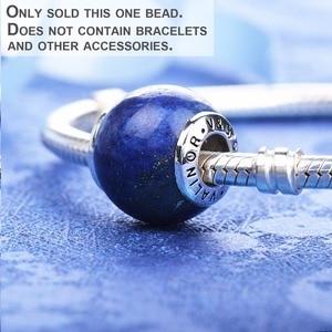 Image 3 - Lapis lazuli 925 ayar gümüş boncuk charms fit bilezik ve bilezikler TRBS004