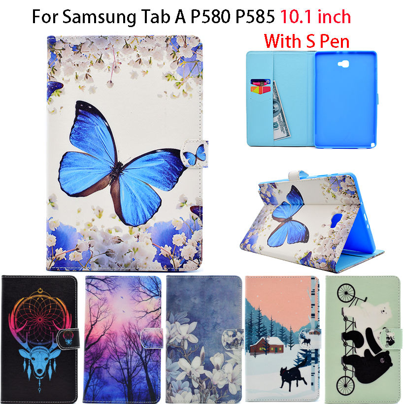 Case For Samsung Galaxy Tab A A6 10.1 2016 P580 P585 with S pen Case Cover Tablet cartoon Ultra Slim Flip PU Leather Shell Funda 360 rotary flip open pu case w stand for 10 5 samsung galaxy tab s t805 white