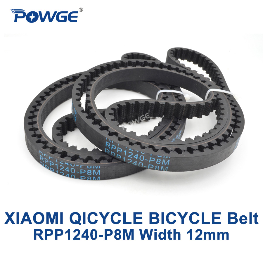 POWGE XIAOMI QICYCLE bicycle P8M synchronous Timing belt RPP1240-P8M Width 12mm Teeth 155 Neoprene Rubber RPP8M closed-Loop beltPOWGE XIAOMI QICYCLE bicycle P8M synchronous Timing belt RPP1240-P8M Width 12mm Teeth 155 Neoprene Rubber RPP8M closed-Loop belt