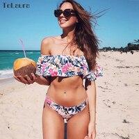 2017 New Ruffle Bikini Swimwear Women Swimsuit Brazilian Bikini Set Off Shoulder Bathing Suits Print Biquini