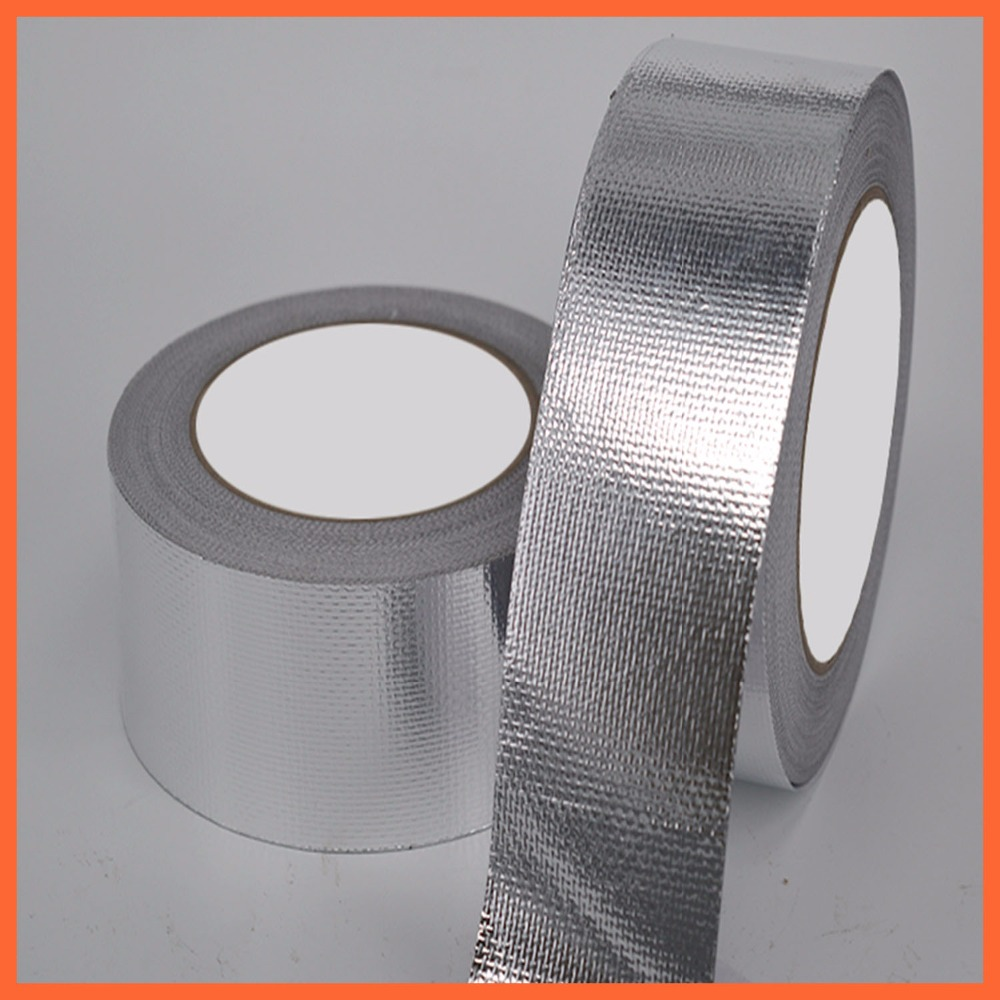 Heat Resist High Temperature Resistant Foil Single Side Adhesive Tape for Pipe Glass fiber Aluminium Foil Adhesive Sealing Tape 110mm 33 meters 0 08mm single side heat resist sticky pet polyester film tape for protection