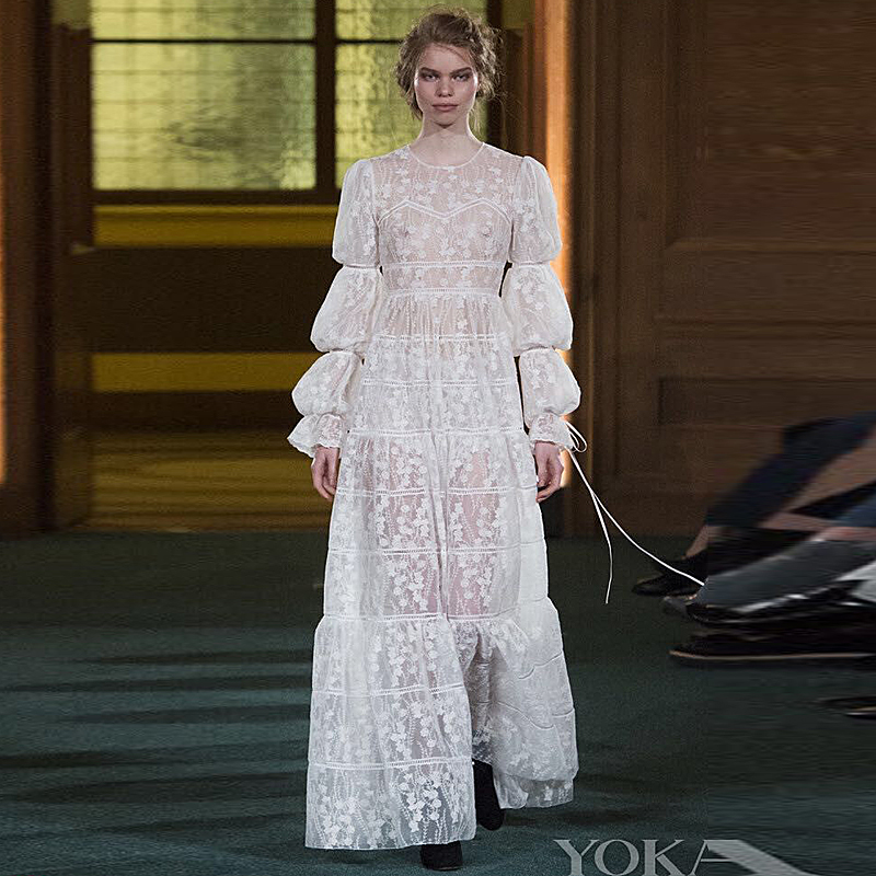 Long Dress Milan Runway New High Quality 2018 Spring Fashion WomenS Party Sexy Girls Embroidered Lace Long Sleeved Dresses