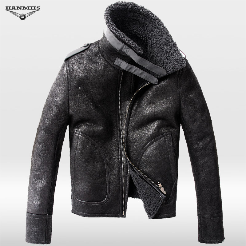 Hanmiis fur one piece merino wool sheep leather jacket air force colonel genuine leather coat with leather gloves