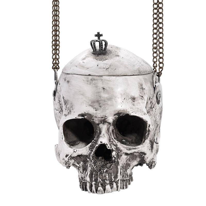 Borsa gothic borsa rock grigio borse del cranio di halloween gothic borsa 3D simulazione della borsa del cranio delle donne degli uomini punk borse divertente tasca unisex
