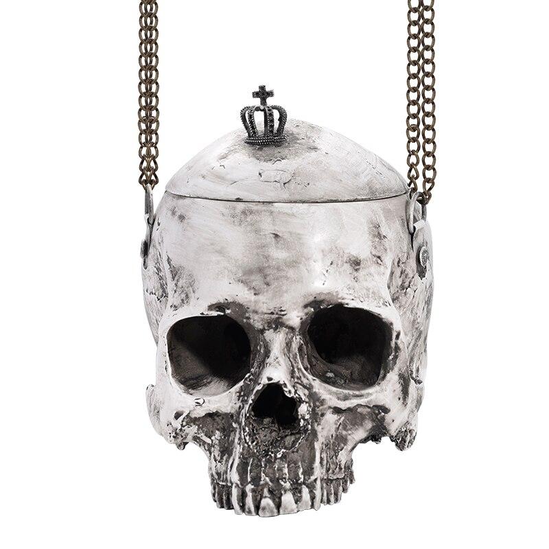 Sac gothique bourse rock gris crâne sacs halloween gothique sac 3D simulation crâne sac à main homme femme punk sacs à main de poche drôle unisexe