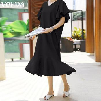 VONDA 2019 Summer Women Sundress Long Maxi Dress Vintage Vestidos Sexy V neck Short Sleeve Dresses Beach Party Robe Femme Plus
