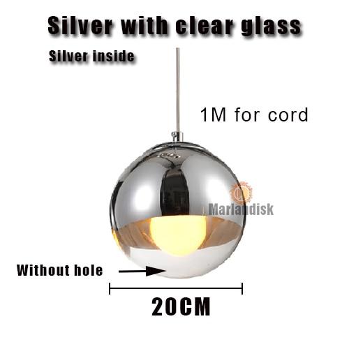 Привлекательный медный/серебристый стеклянный абажур серебристый внутри зеркальный подвесной светильник E27 светодиодный подвесной светильник стеклянный шар лампы для гостиной(DH-50 - Цвет корпуса: 20CM Silver
