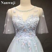 Wedding Dress robe de mariee Real Photos Gowns A-Line Half Sleeves Dresses Light Blue Tulle vestido noiva