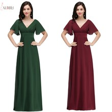 2019 Burgundy Navy Blue Purple Chiffon Long Bridesmaid Dresses V Neck Wedding Party Guest Gown цены