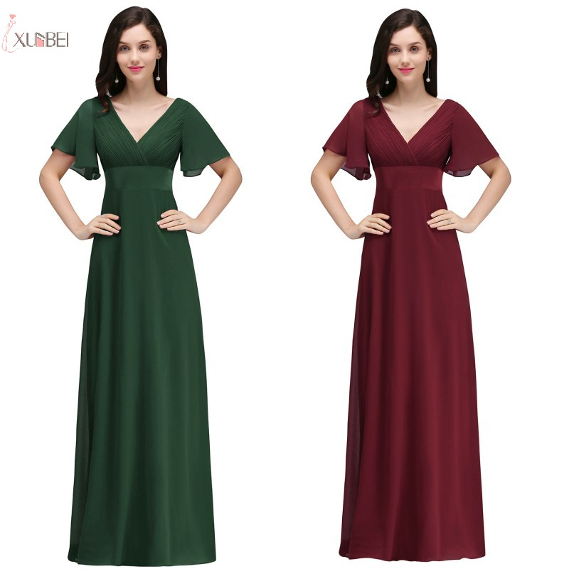 2019 Burgundy Navy Blue Purple Chiffon Long   Bridesmaid     Dresses   V Neck Wedding Party Guest Gown
