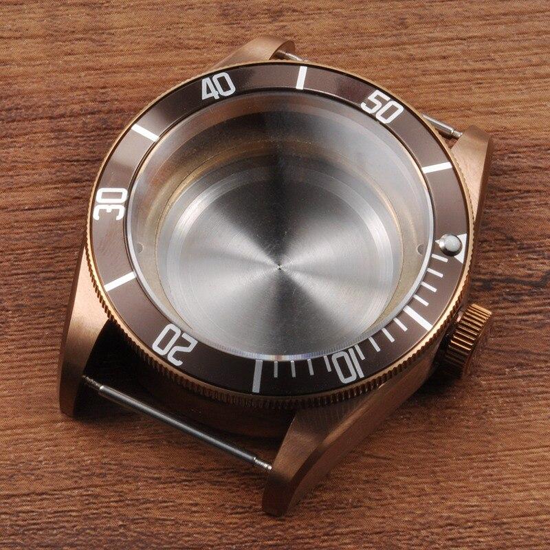 Pièce de montre, 41mm Corgeut café céramique Insert saphir verre boîtier de montre fit 4 ETA 2824 2836 mouvement laiton PVD enduit CA2010CAZ