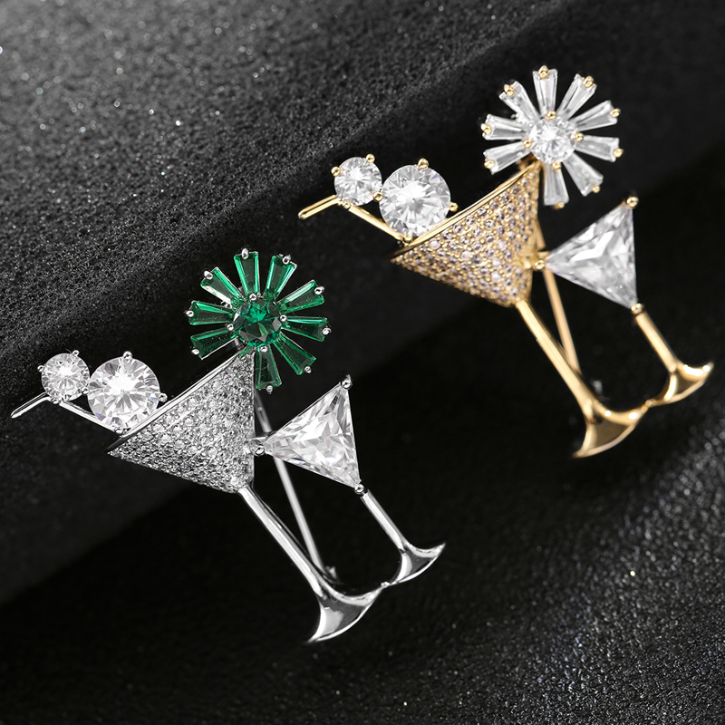 Blingbling Rhinestone Crystal Cocktail Glass Brooches Pins Creative Design Handmade Gift For Cocktail Party Jewelry Pin Broche