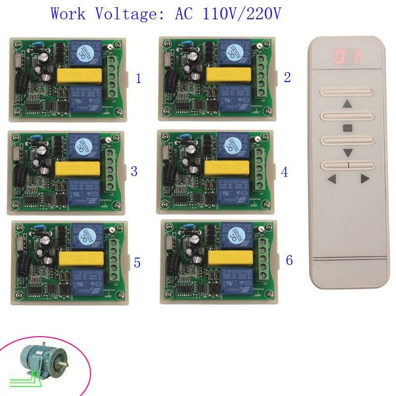 AC 220 V 2CH affichage numérique Intelligent RF télécommande commutateur + 6 * récepteur/écran de Projection/moteur tubulaire porte de Garage Opner